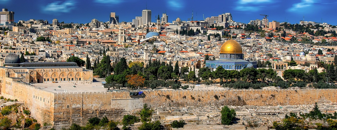 Landscape view of the Old City of Jerusalem with the Temple Mount in the distance.